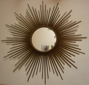 Miroir soleil en m tal dor vintage ann es 1950 broc - Miroir chaty vallauris prix ...