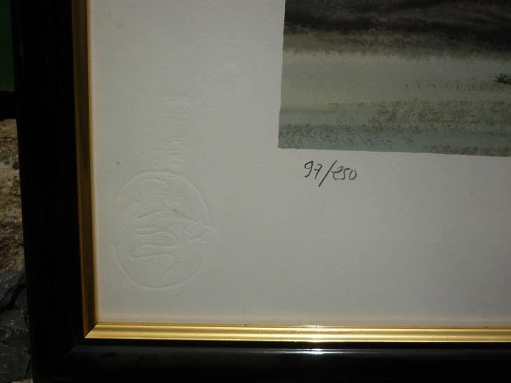 lithographie originale de st phane lauro d 39 une marine bretonne broc 39 en 39 guche. Black Bedroom Furniture Sets. Home Design Ideas