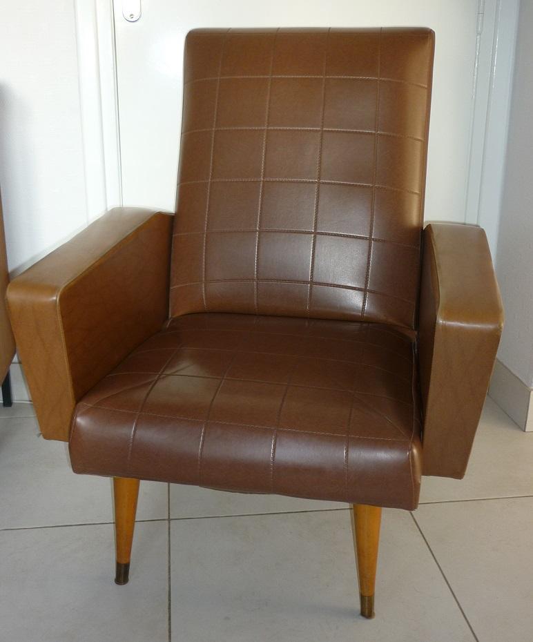 fauteuil vintage en ska marron 1950 60 broc 39 en 39 guche. Black Bedroom Furniture Sets. Home Design Ideas