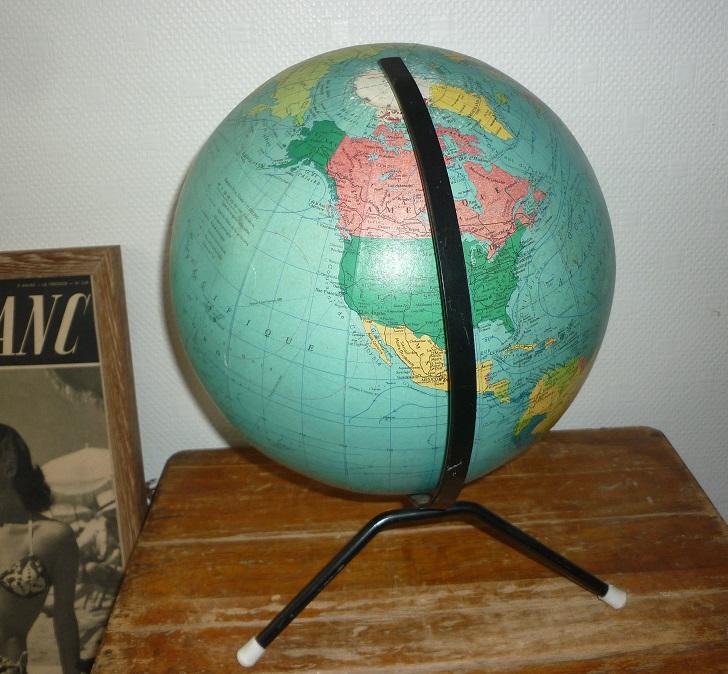 Globe terrestre de marque taride 1969 broc 39 en 39 guche - Globe terrestre en carton ...