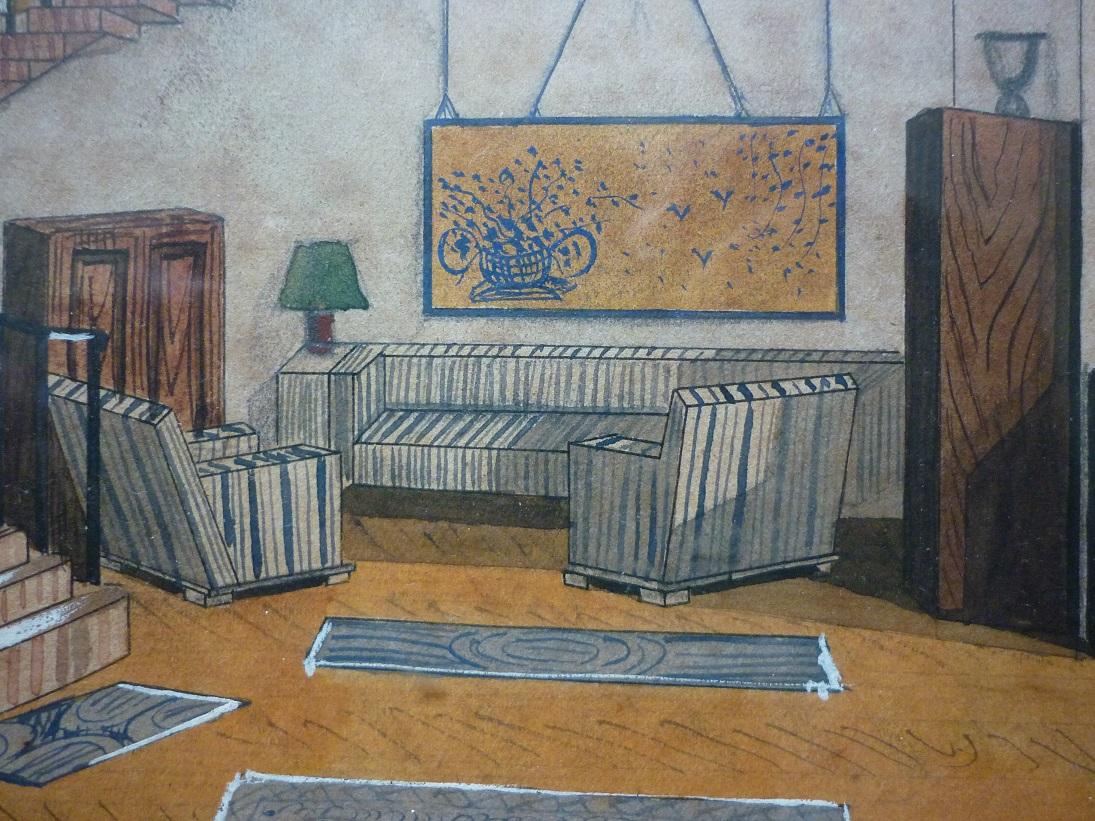 Gouache d 39 un int rieur art d co dat e 1940 broc 39 en 39 guche - Interieur art deco ...